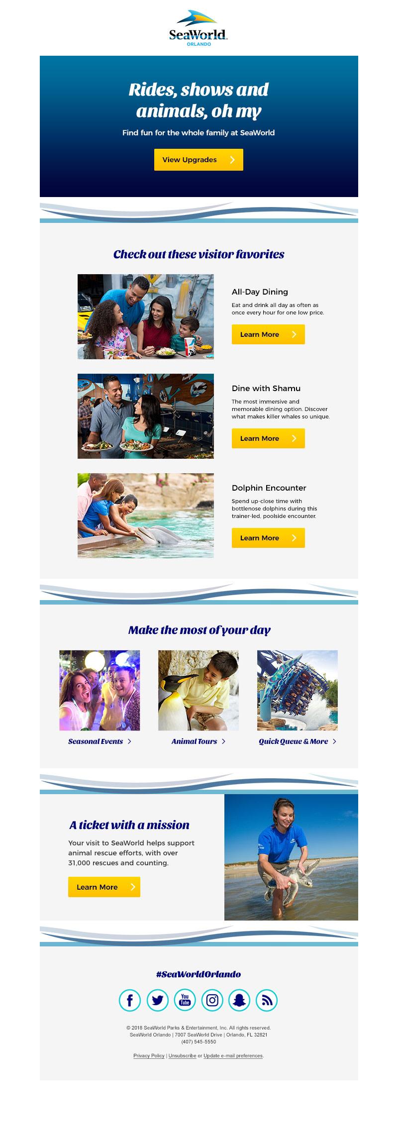 Post purchase upgrade email (SeaWorld Orlando)