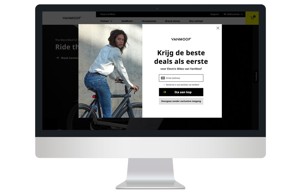 On entrance email capture overlay (Dutch site)