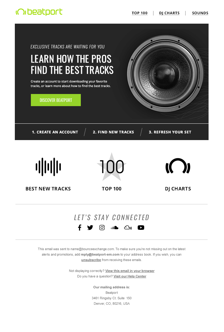 Beatport - behavioral welcome email
