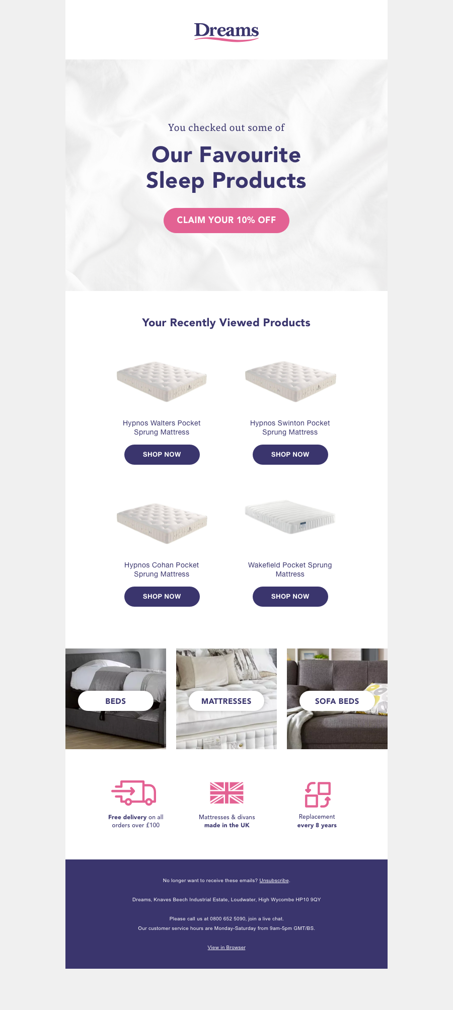 Dreams - product abandonment email for sales demo