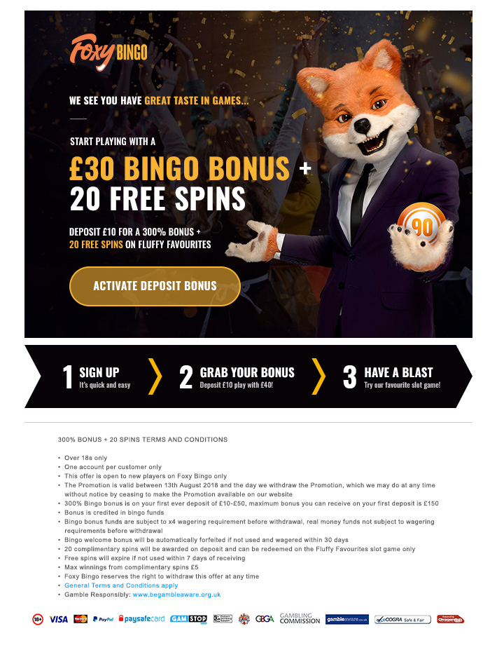Foxy Bingo - cart abandonment email