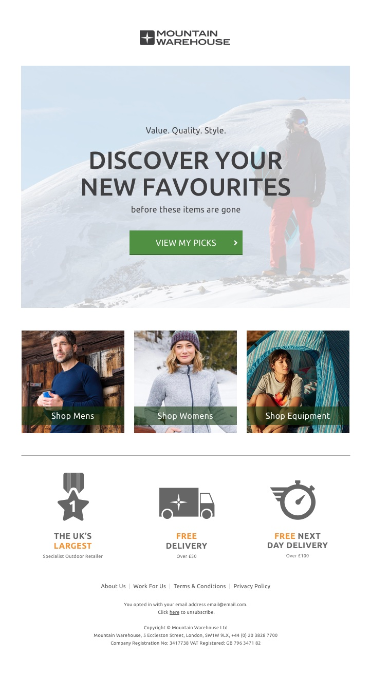 Mountain Warehouse - category abandonment email