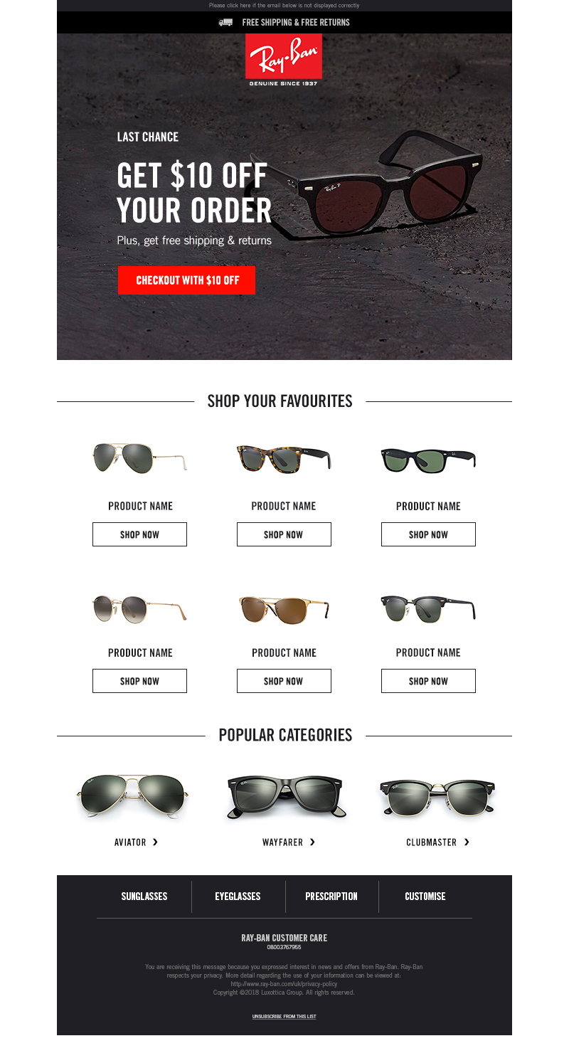 Ray-Ban - product abandonment email