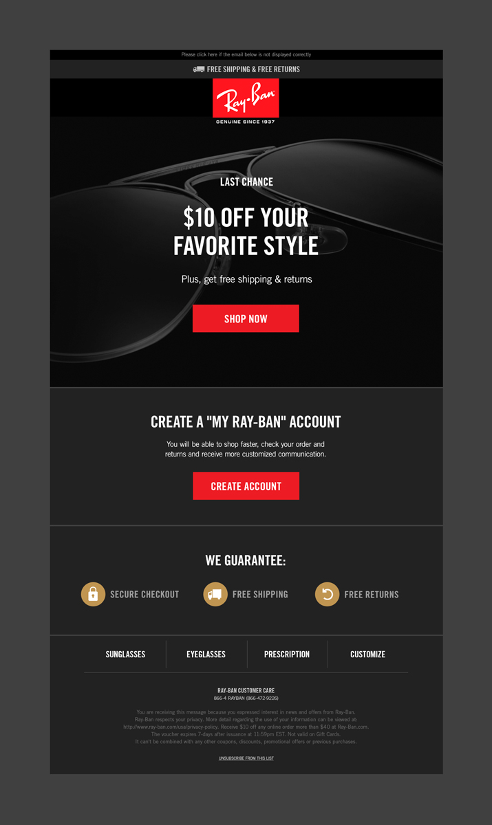 Ray-Ban - behavioral welcome email