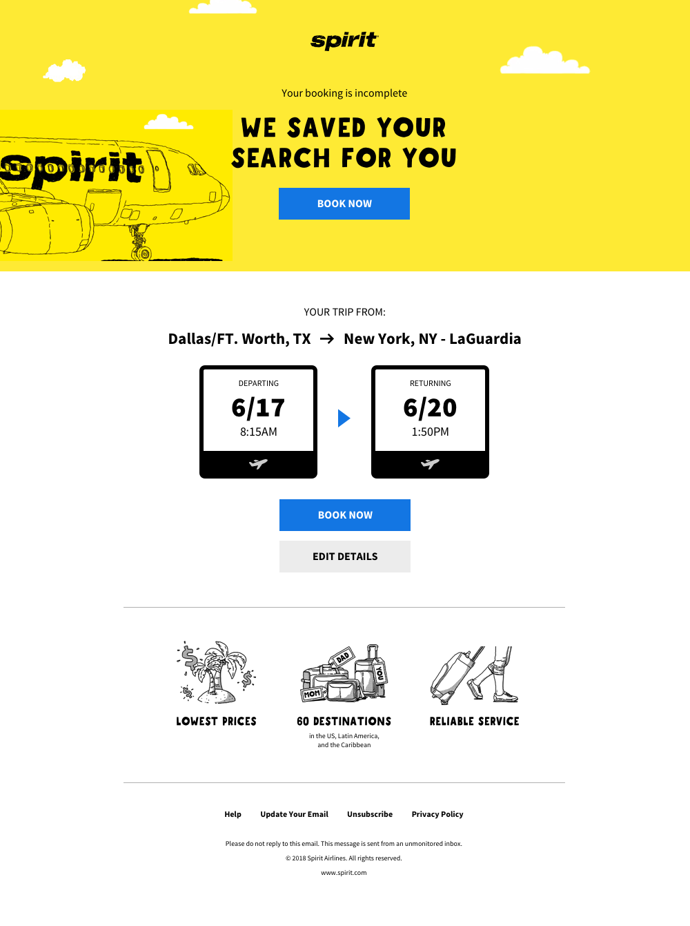 Spirit - search abandonment email for sales demo