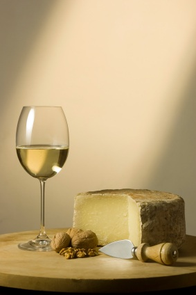 White winer glass and cheese