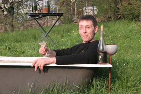 Domaine Labet, winemaker in tub