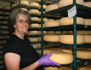 Cheesemaker Jeannine hanging out with the Ascutney