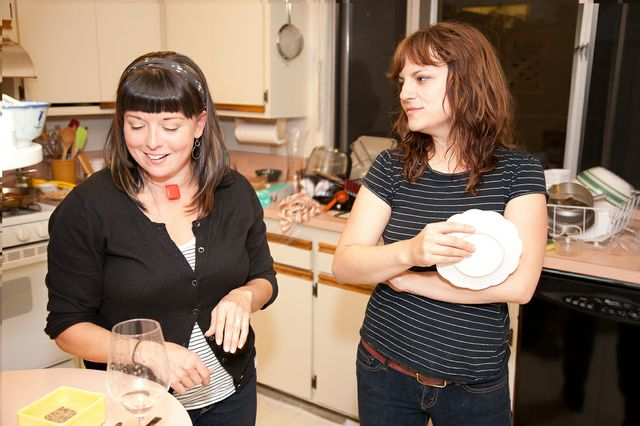 Me getting a pastry lesson from a Delfina pastry chef- photos by Molly DeCoudreaux