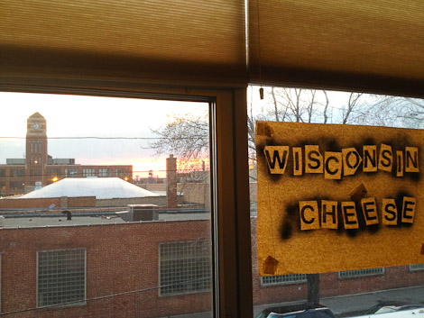 The Wisconsin cheese booth's backdrop at Fete Chicago.
