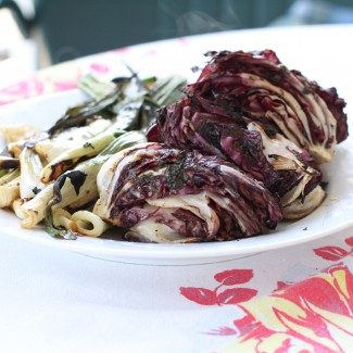 Grilled radicchio and spring onions