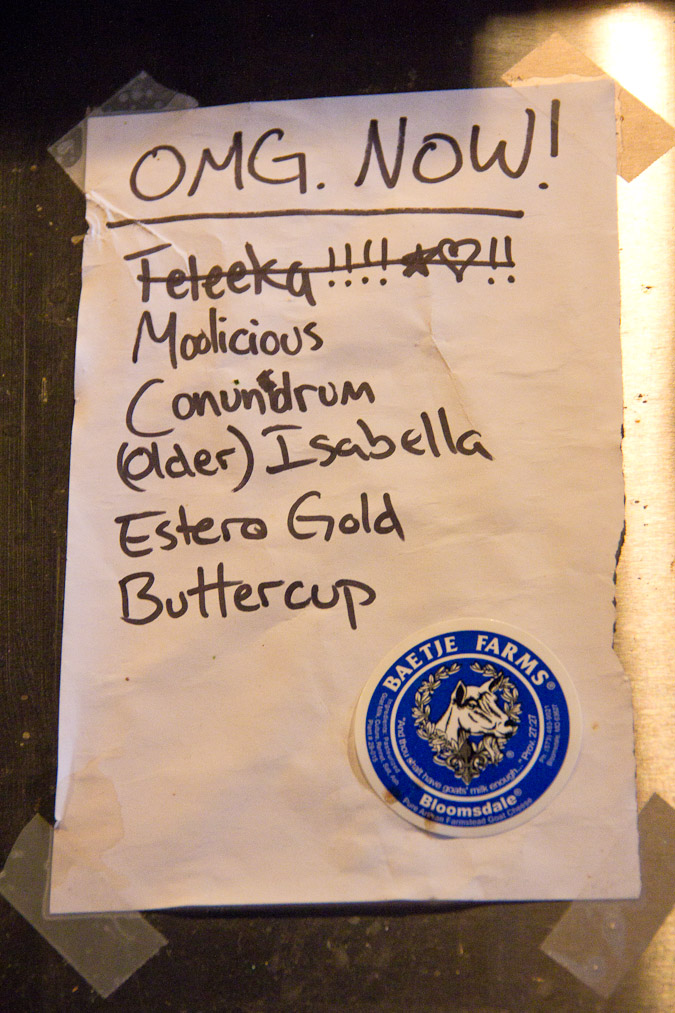 The eat-soon cheesemonger list at Mission Cheese