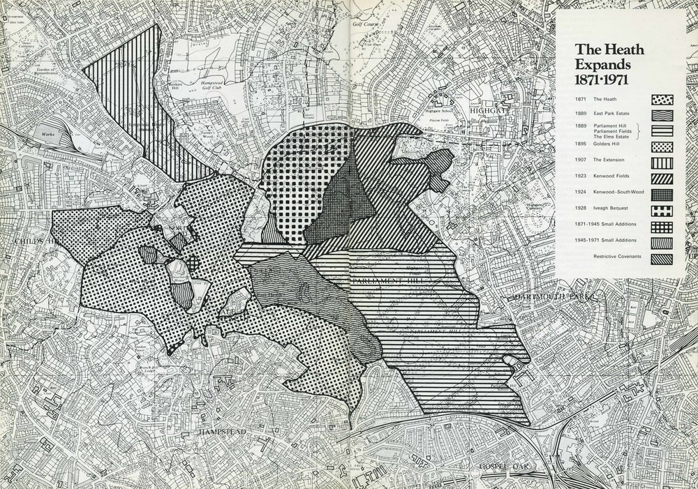 Hampstead Heath and all expansions 1871-1971