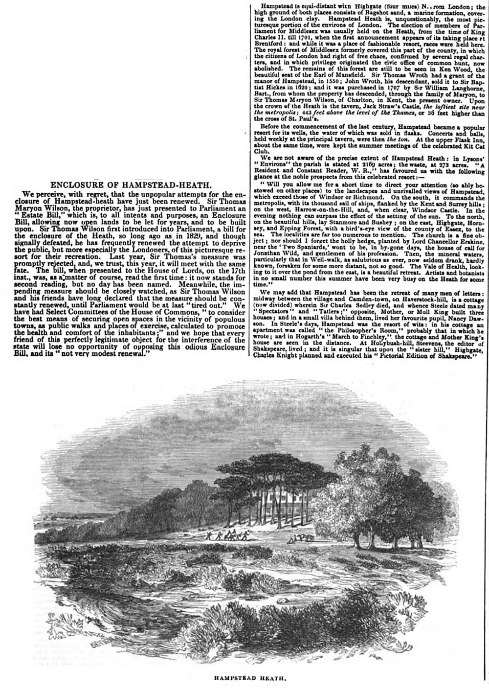 1844 Newspaper clipping about Sir Thomas's plans to enclose the Heath