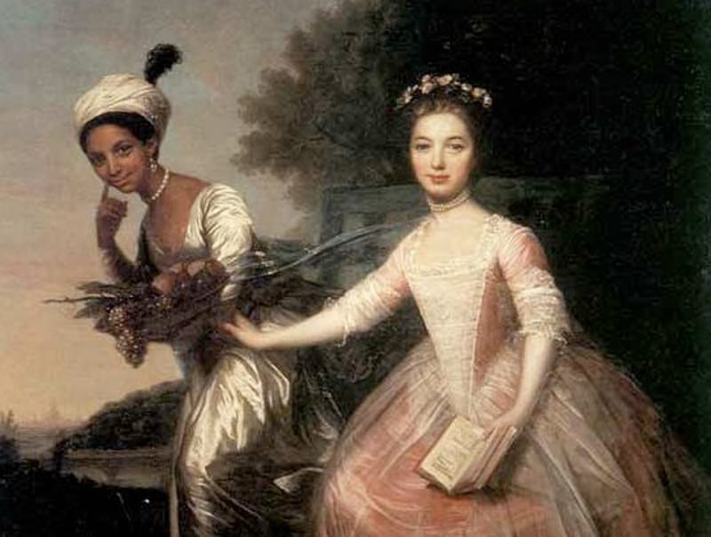 Dido Belle with her cousin, Lady Elizabeth Murray, thought to have been painted in 1779, artist unknown. The painting was extremely unusual for its time, when the slave trade was at its height, because it shows a black woman and a white woman as near equals.
