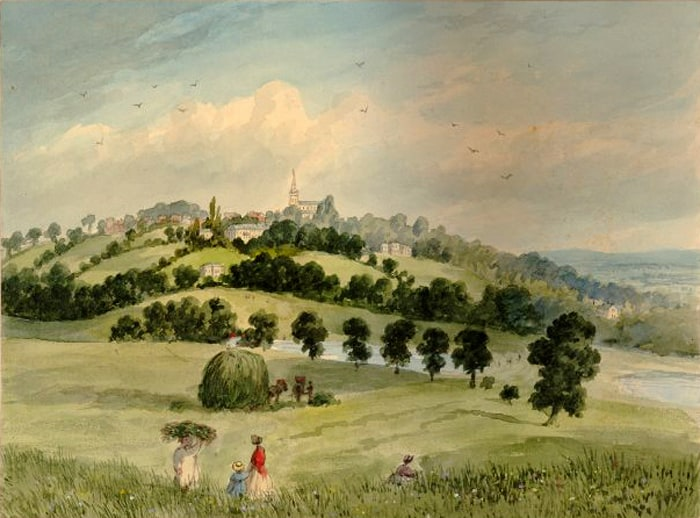 1841 Highgate Church, from Parliament Hill, EH Dixon.jpg