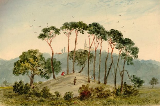 1860 Tumulus, near Parliament Hill, looking out towards Highgate Church.jpg