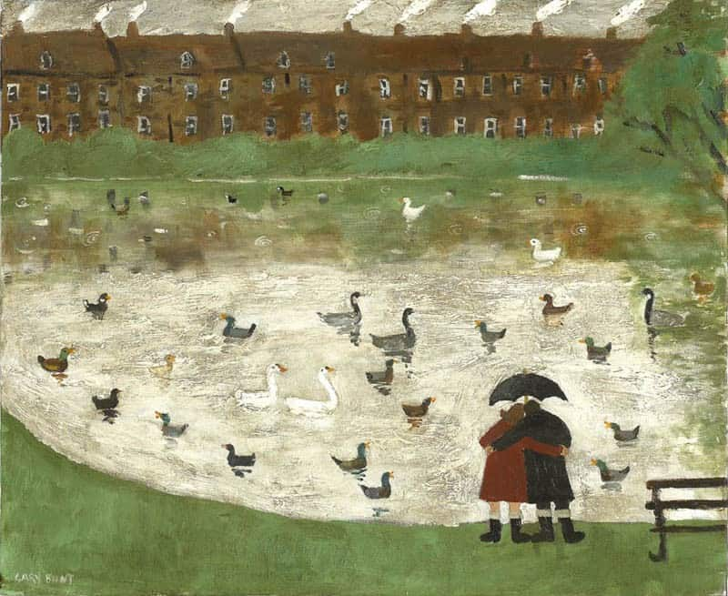 Gary Bunt - Down by the pond, In Hampstead Heath, Two lovers in wellington boots, They come down here most Sundays, To see the ducks the swans and the coots.JPG