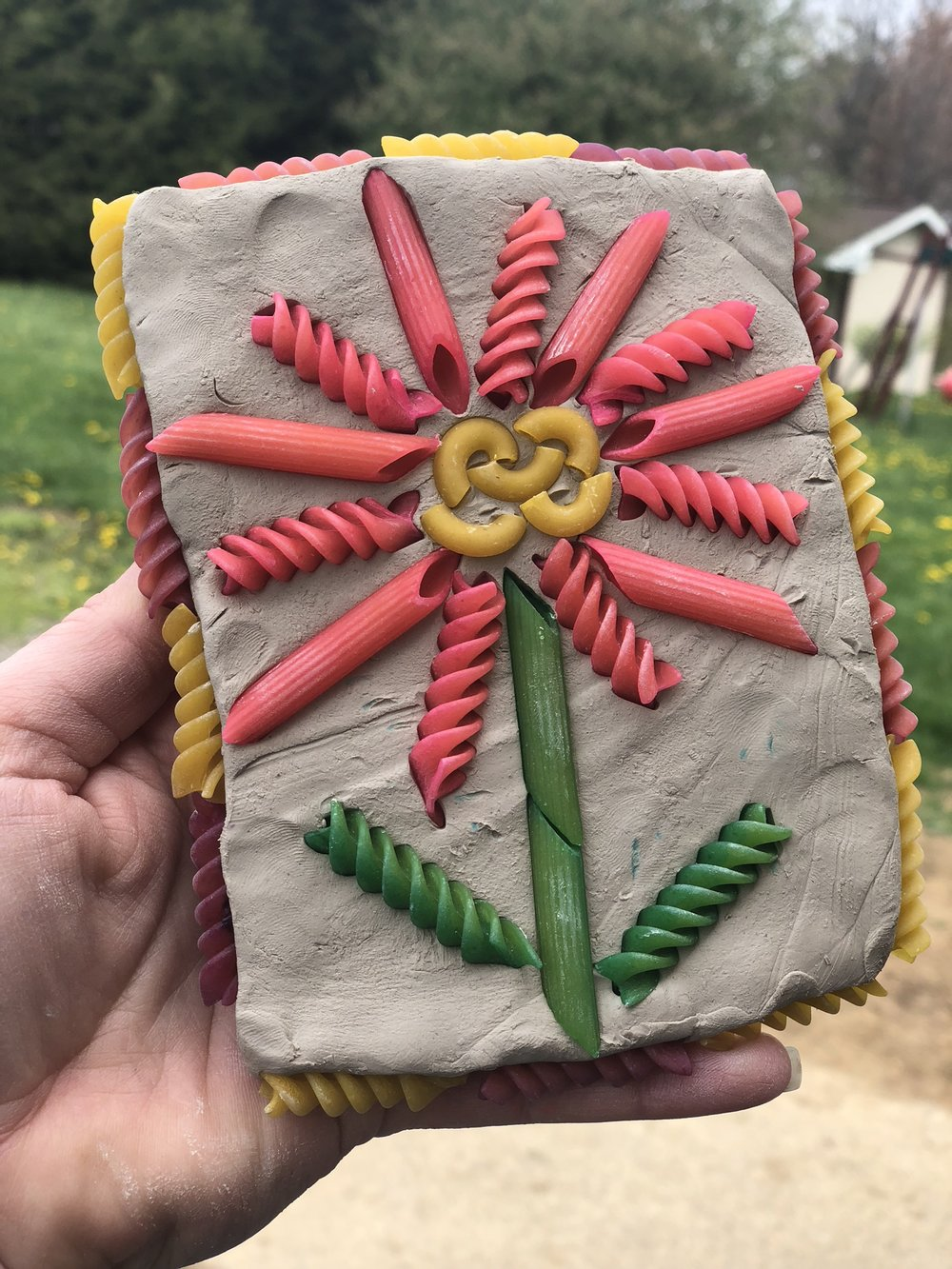 Air Dry clay and pasta flower