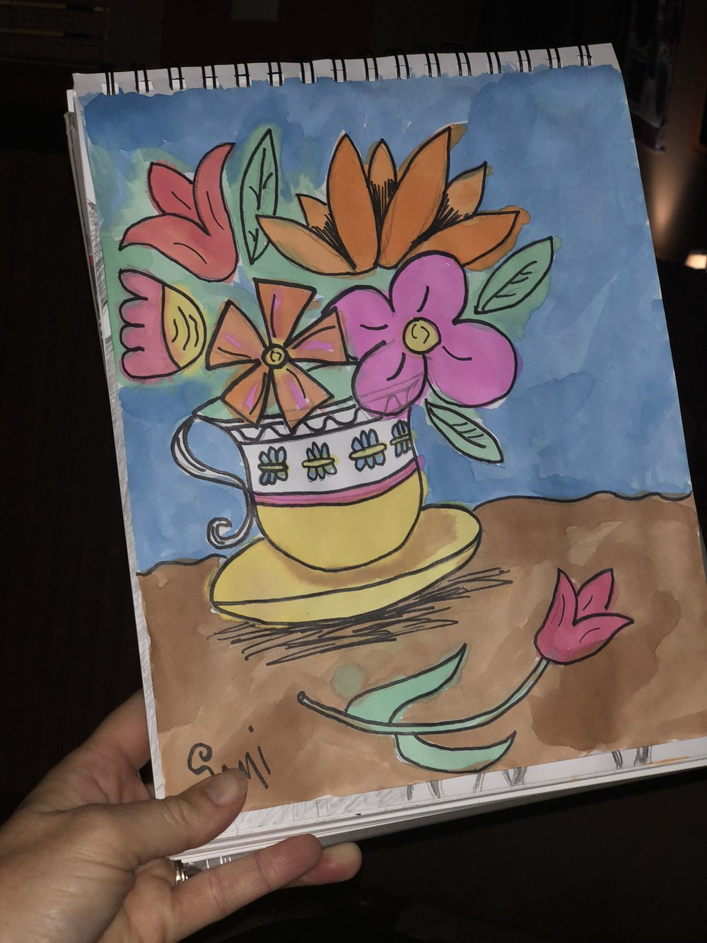 Watercolor flowers and teacup