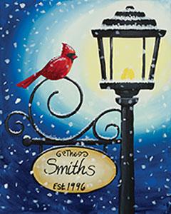Cardinal Lamppost - Canvas, Crafts n' CabernetAges 13+