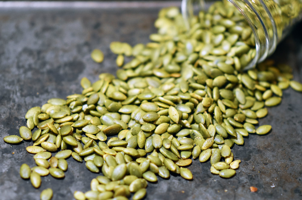 curried pumpkin seeds - for a little crunch & snacking while you wait for the soup to finish