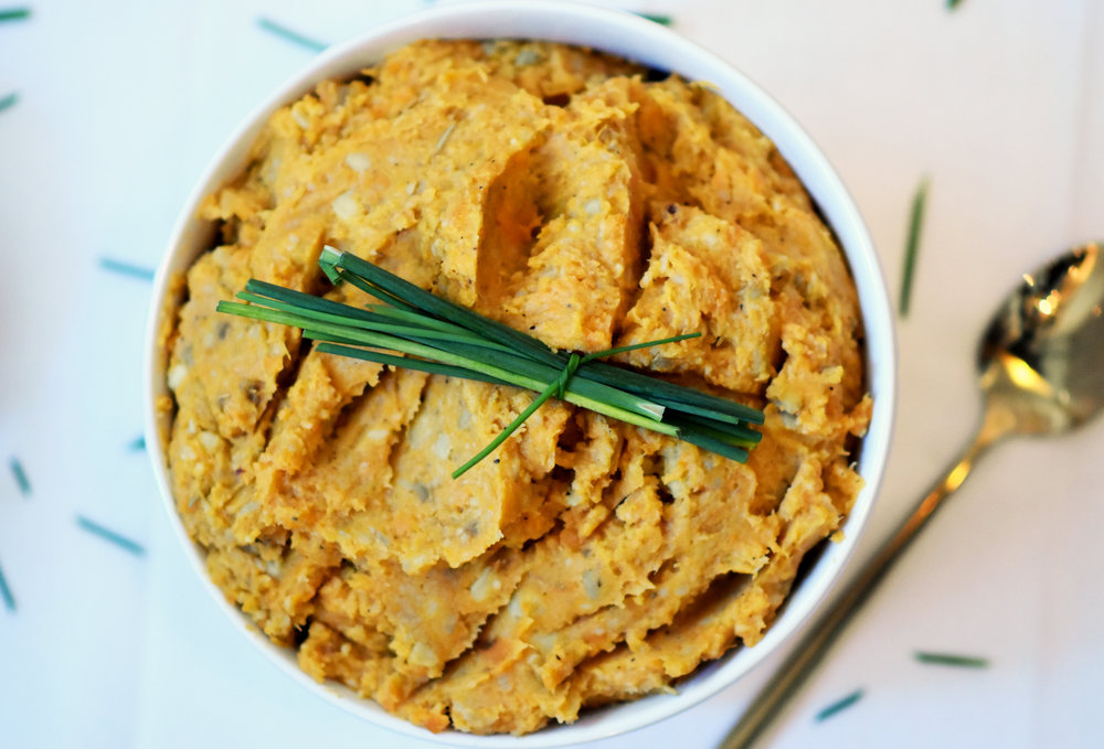 savory vegan mashed sweet potatoes - let your granny make the marshmallow kind
