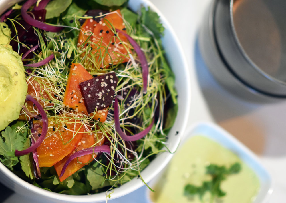 fall roasted beet & kale salad - with a side of tang
