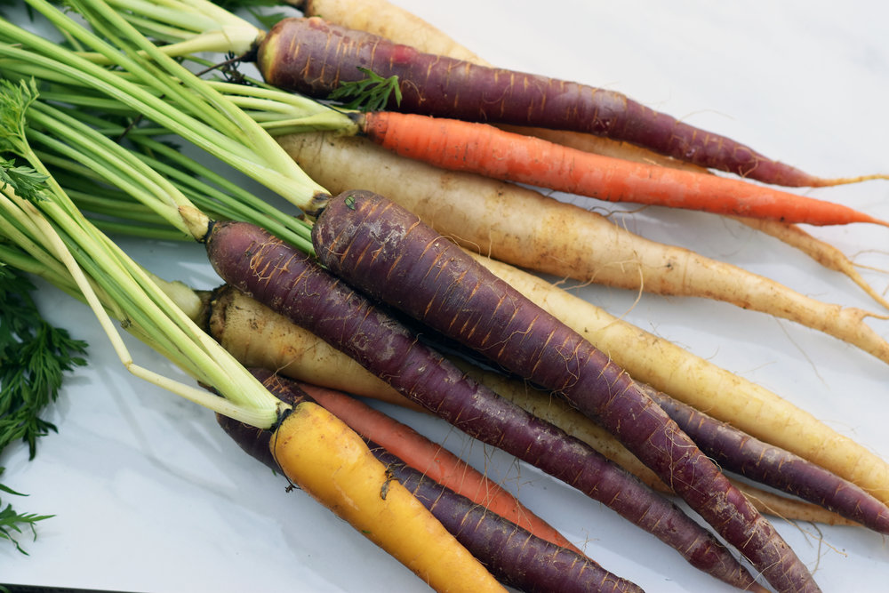 heirloom rainbow carrots - beautifully raw because raw is beautiful