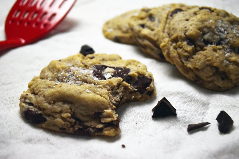 "vegan salted chocolate chip cookies - aka ""those cookies"" and the highlight of any study session"