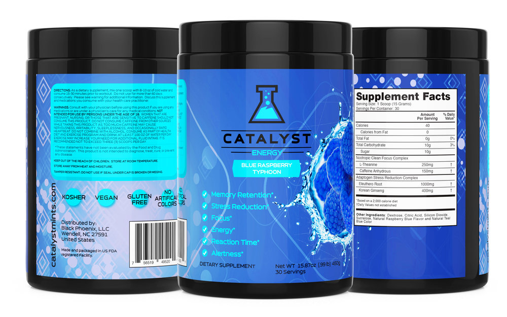 Photo of the custom nootropic energy powders we manufacture for Catalyst. Images and designs are owned and copyrighted by Catalyst Mints™.