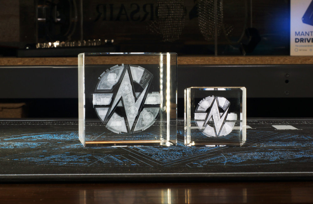 Custom 3D engraved crystals manufactured and fulfilled by SquareShark for GamersNexus. Design and image owned and copyrighted by GamersNexus, LLC.