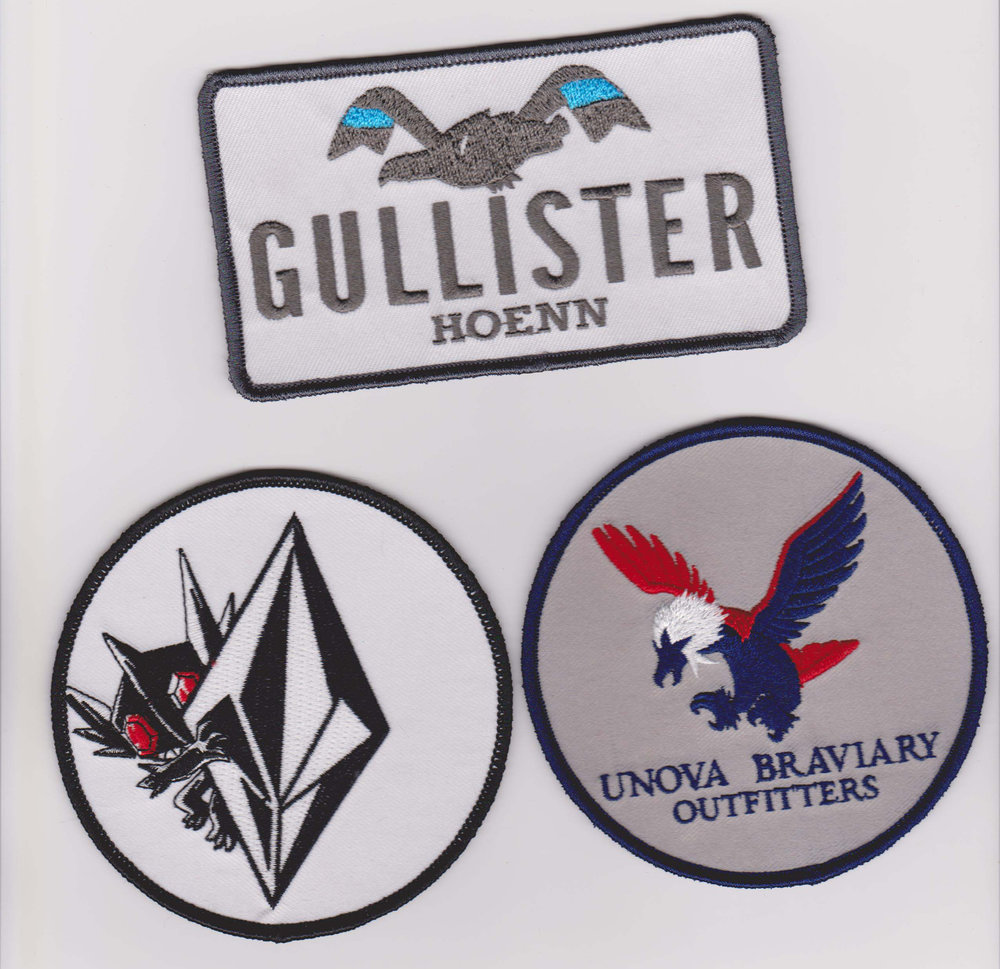 Photo of custom famous clothing brand parody patches. Images and designs are owned and copyrighted by Austin Lockwood.