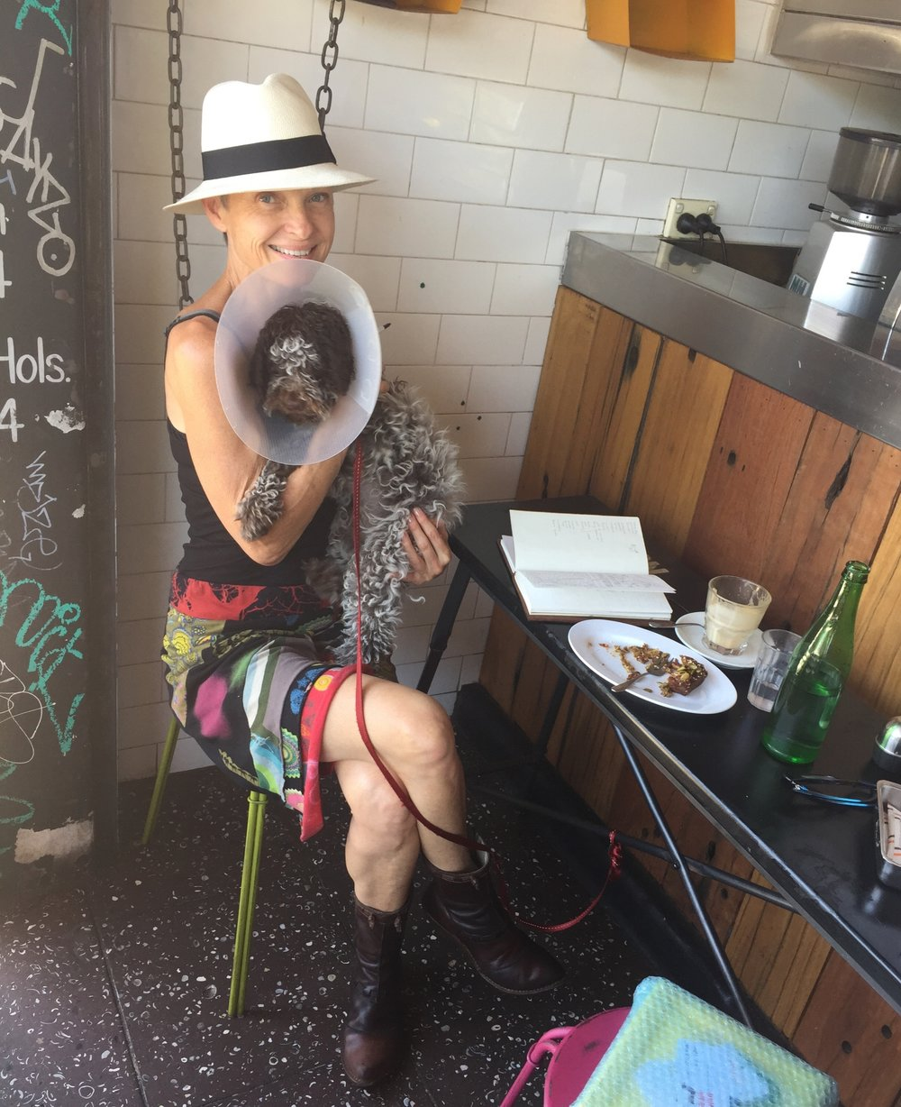 Lynn and her Lagotto puppy, Mucca, at one of the artist's favourite dog-friendly Erskineville cafés, Café Sofia. DECEMBER 2014