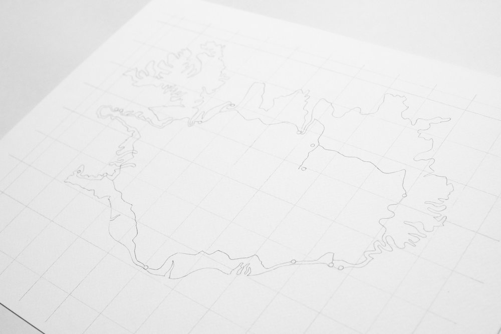 The outline of Iceland on the grid, along with the road we took around the country