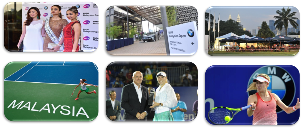 BMW MALAYSIAN OPEN (2011 – 2016)    Average Number Spectators: 14,000 people  Players: 55 players  Players: Elena Dementieva, Caroline Wozniacki, Li Na, and Marion Bartoli  Live broadcasting: 300 million households in 47 countries