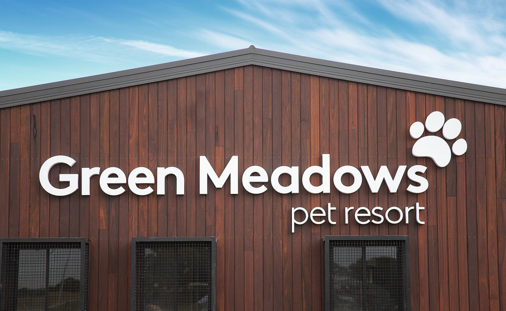 Green Meadows Pet Resort Signage