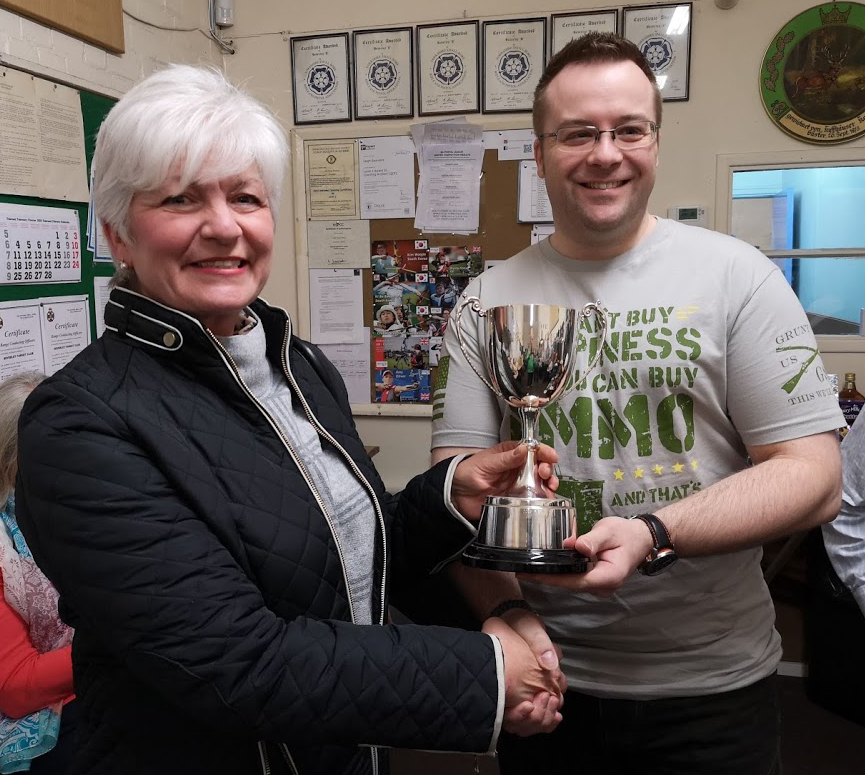 Shiela Clark Memorial Trophy - Adam Waller wins this years trophy with an impressive 47/50 score standing 20yards Light Weight Sporing. Presented by Maureen.