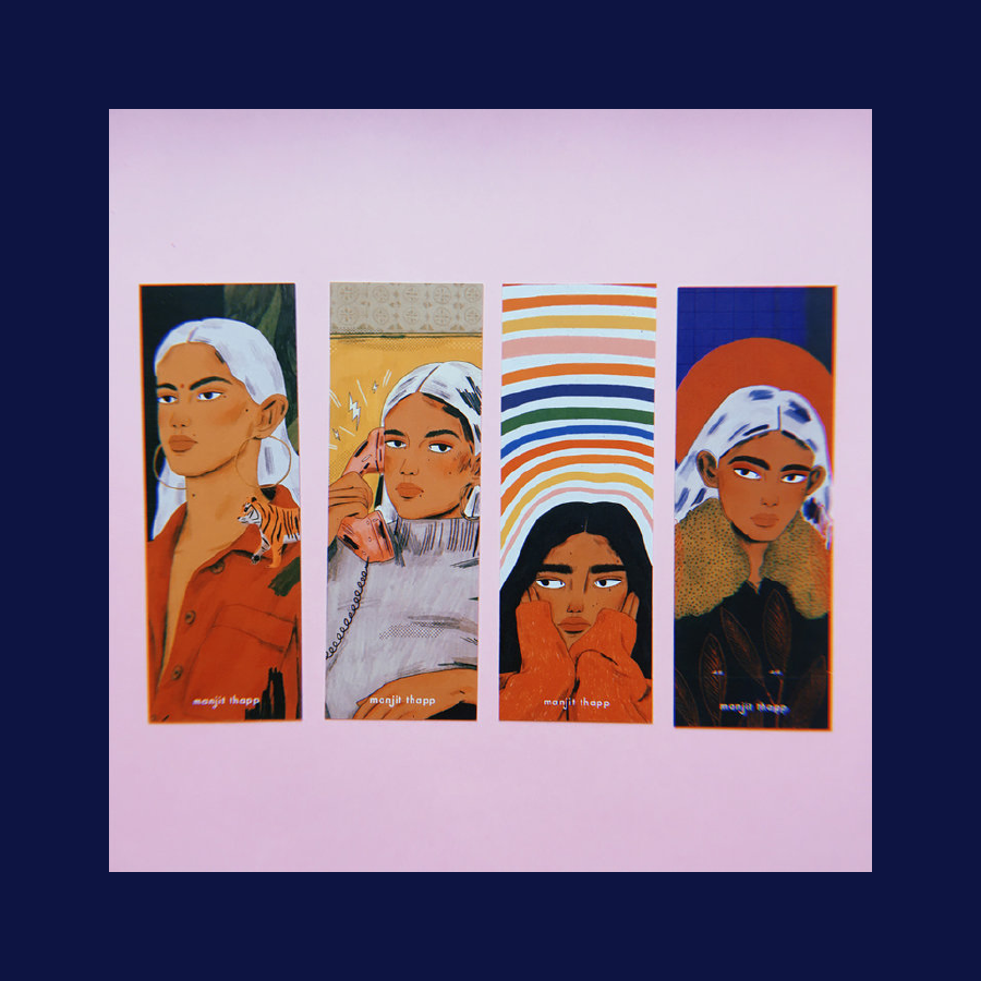 Set of 4 Bookmarks, Manjit Thapp