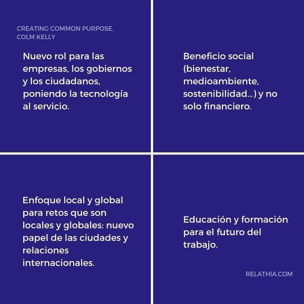 Los cuatro principios de Colm Kelly para enfocar el propósito común de la sociedad.