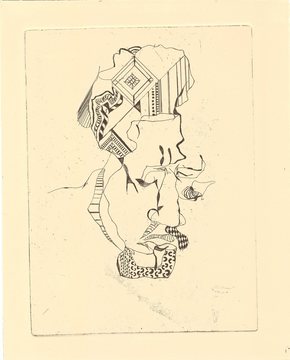 "uriah Bussey, ""Ex Lover"", etching, 2016"
