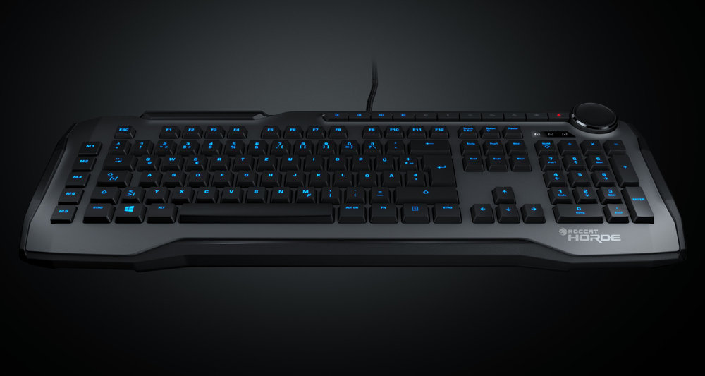 Roccat: Horde - PRECISION KEY LAYOUT fingertip design improves key distinction and island layout resists dirt. CONFIGURABLE TUNING WHEEL & KEYS on-the-fly control for multimedia, illumination & more. MEMBRANICAL KEYS with precise midway travel actuation point. QUICK-FIRE MACROS low-profile keys that prevent accidental miss-hits. IMPROVED ANTI-GHOSTING ensures every single key stroke is registered. ROCCAT® LIGHTING SYSTEM configurable ROCCAT® blue illumination.