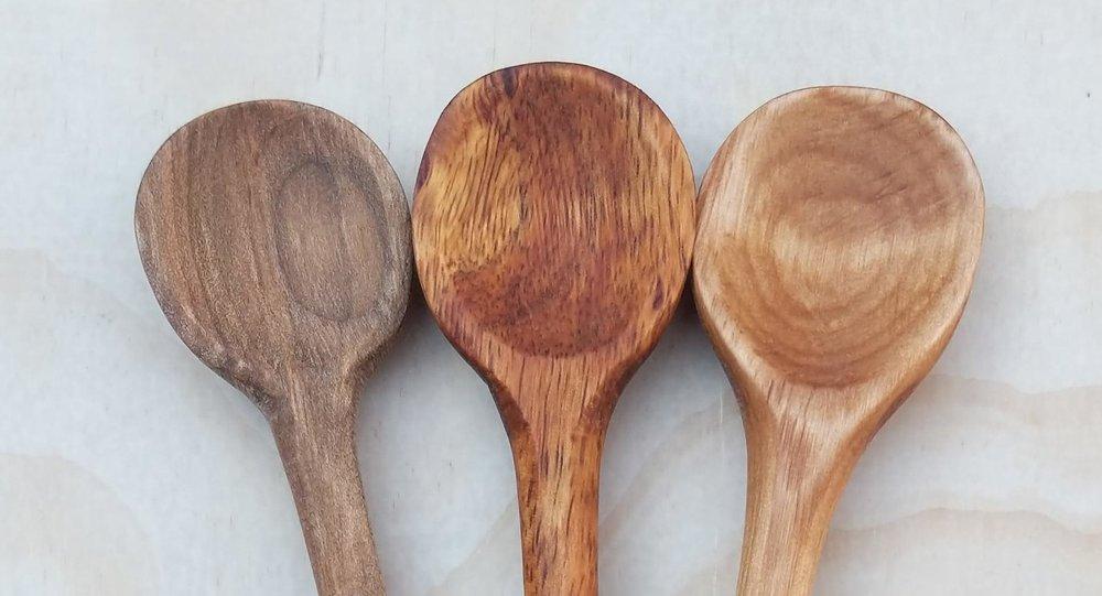 "Apothecary spoons, maple (left), Hawaiian koa (center), alder (right), 10.5"" long"