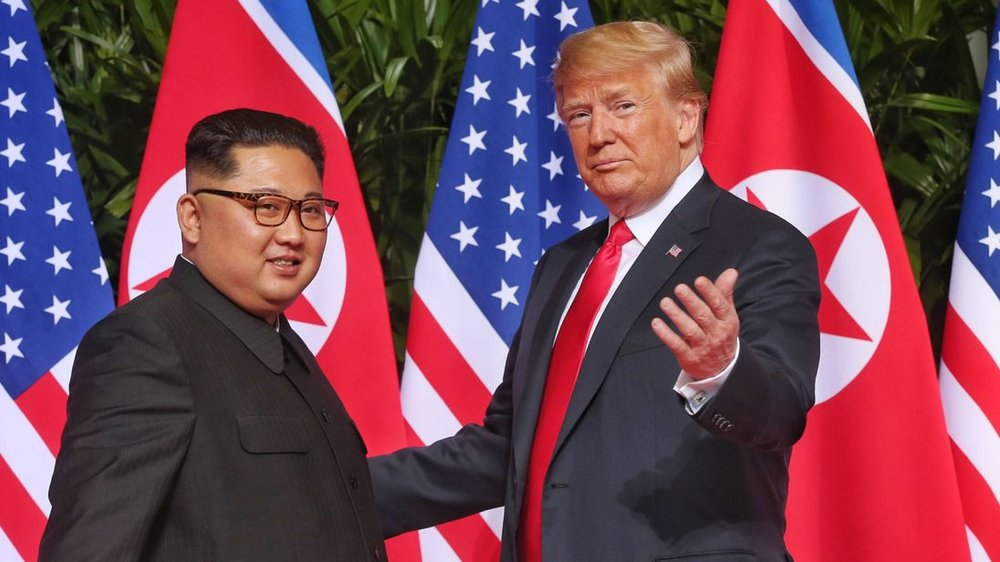 Donald Trump and Kim Jong-un discussing US soldiers remains.