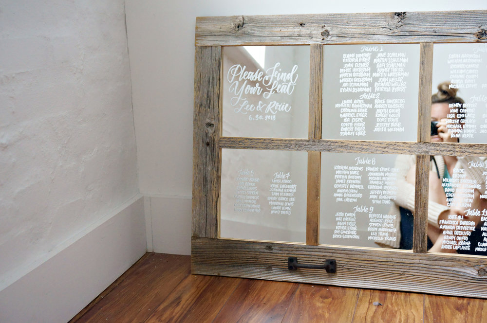 mirror seating chart calligraphy