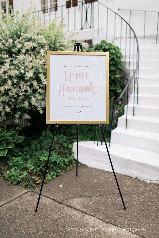 blush watercolor wedding sign
