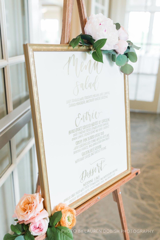 gold and ivory wedding menu