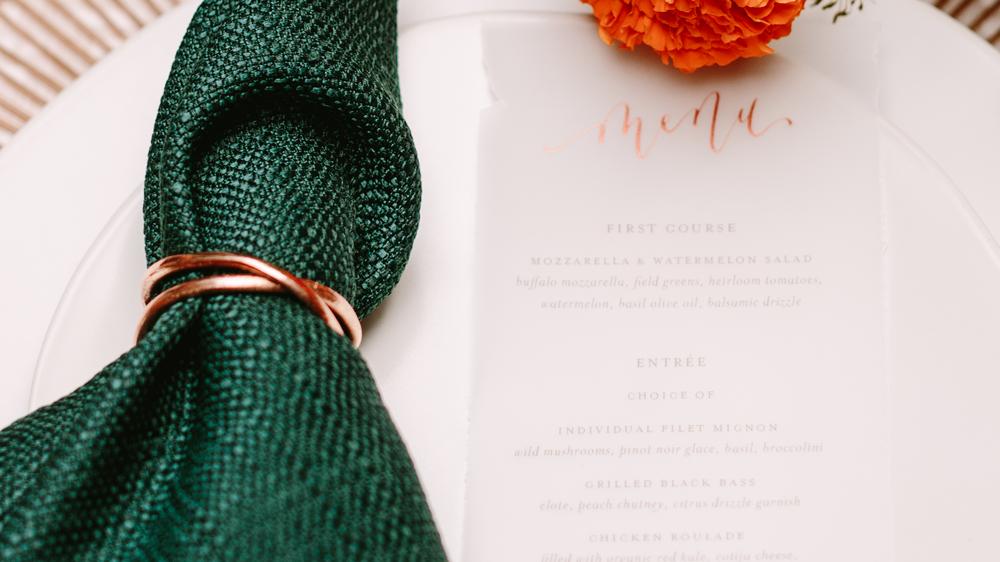 rose gold menu on translucent paper