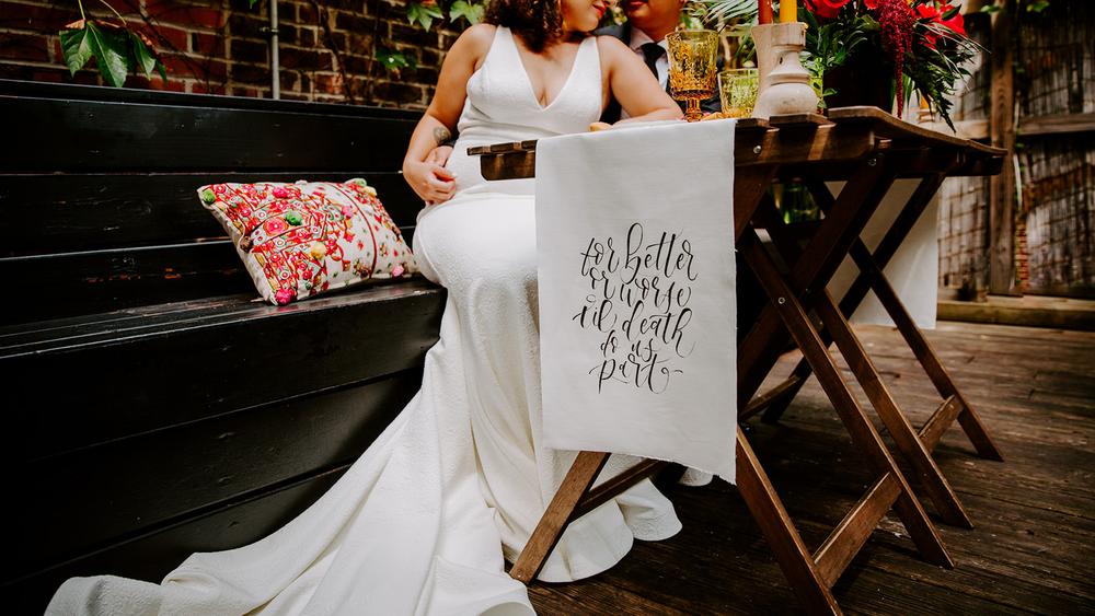 brush calligraphy on table runner