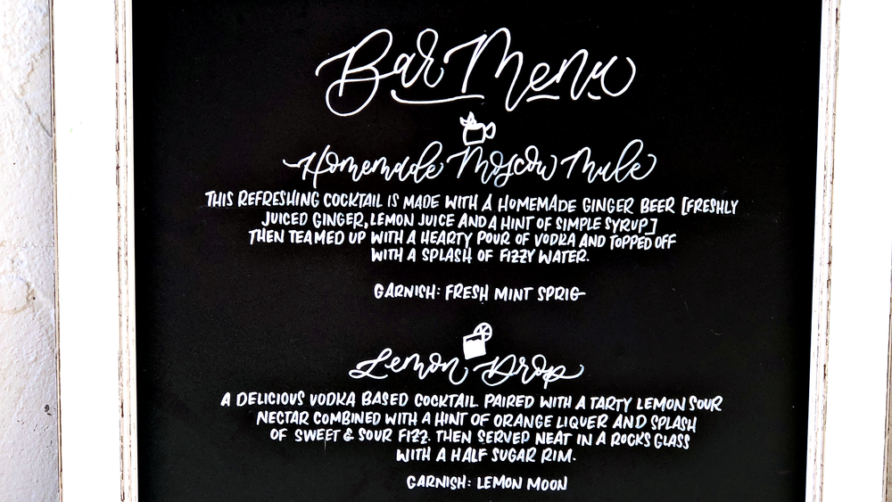 signature cocktail chalkboard bar menu